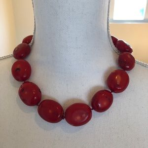 Chunky Coral Necklace - Red